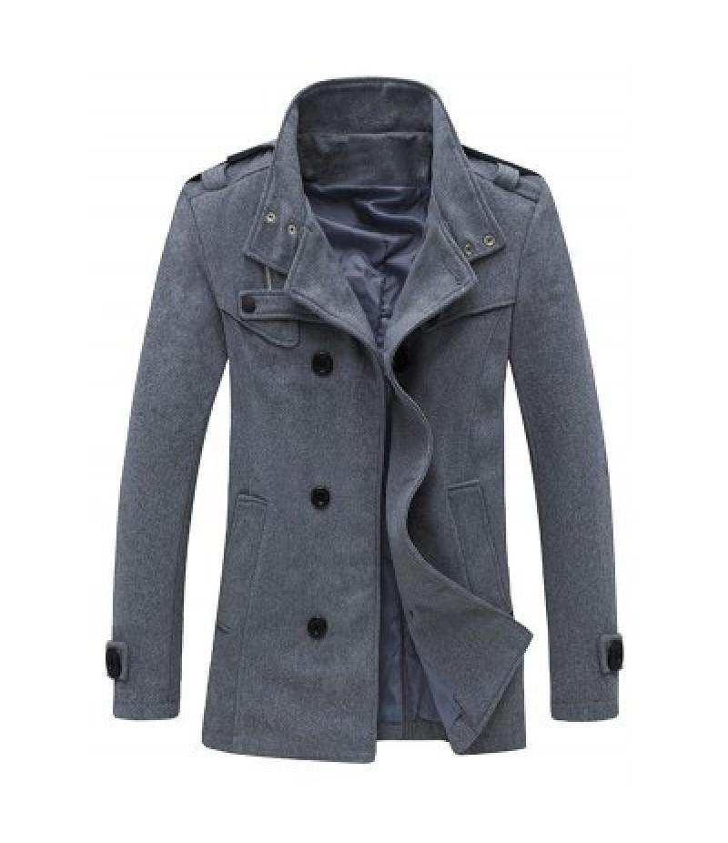 Zippered Epaulet Design Stand Collar Pea Coat
