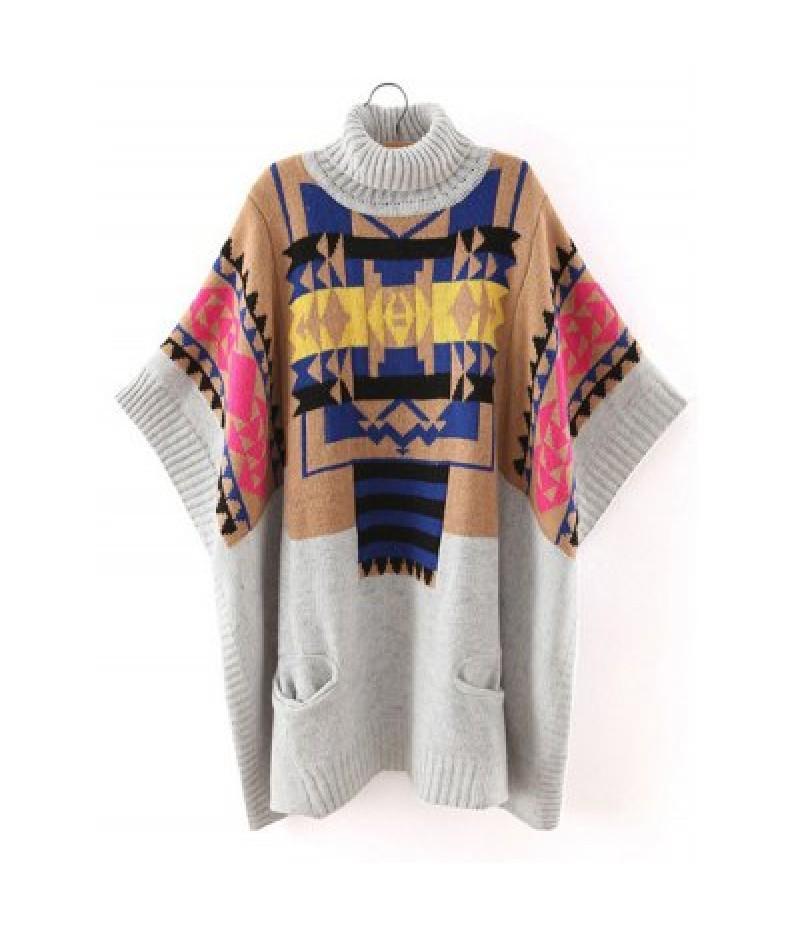 Batwing Sleeve Geometric Oversized Sweater