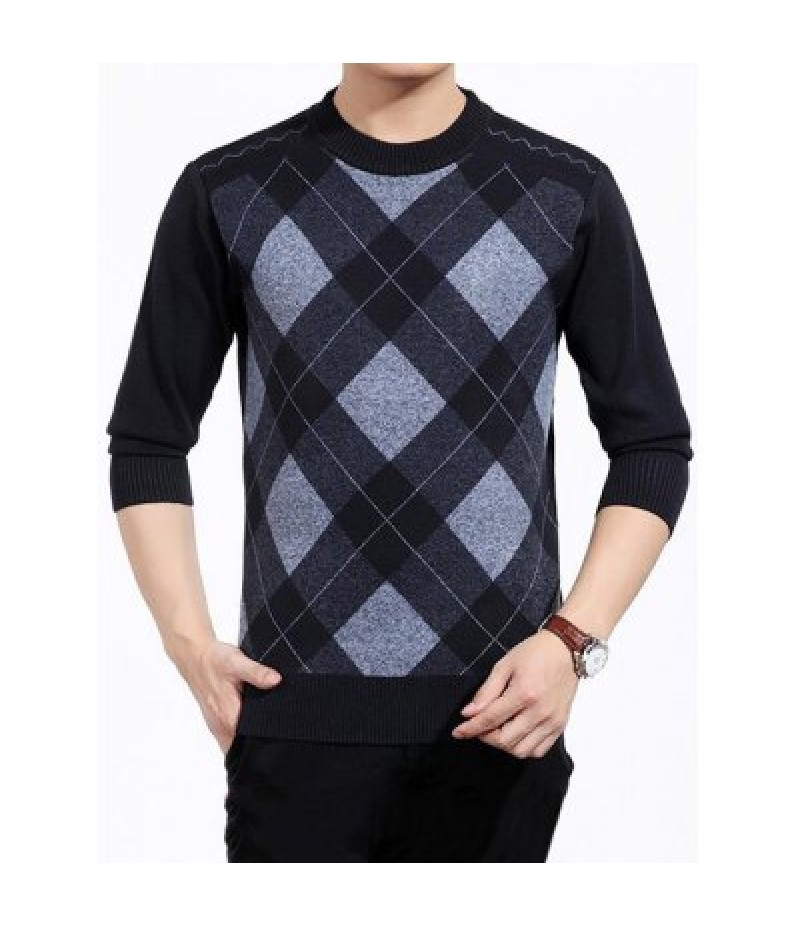 Color Block Argyle Crew Neck Sweater