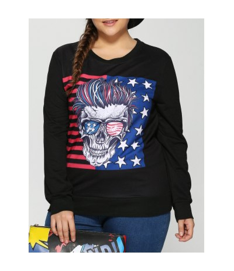 American Flag Skulls Print Halloween Sweatshirt