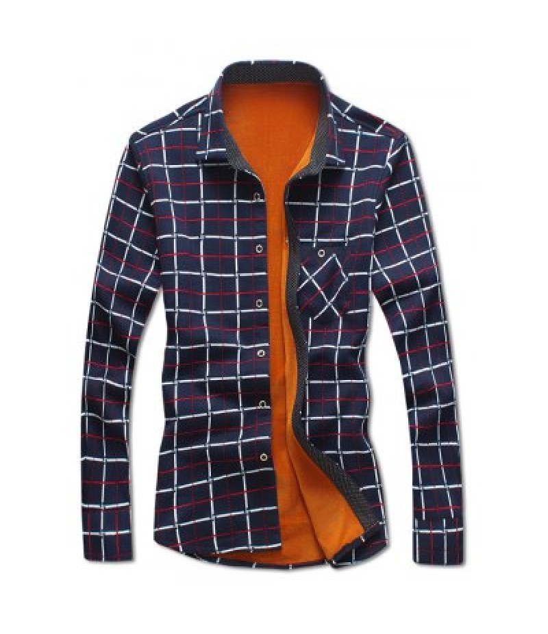 Turndown Collar Checked Print Flocking Shirt