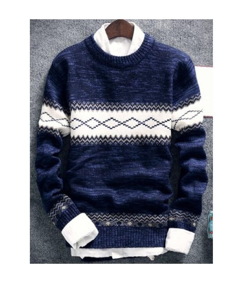 Geometric Pattern Space Dye Crew Neck Sweater