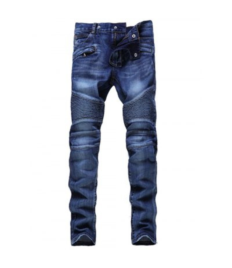 Skinny Zipper Embellished Biker Jeans