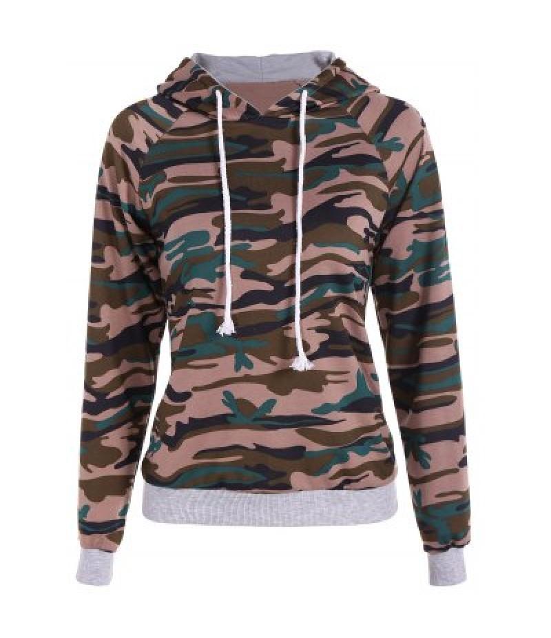 Pullover Camouflage Print Paneled Hoodie