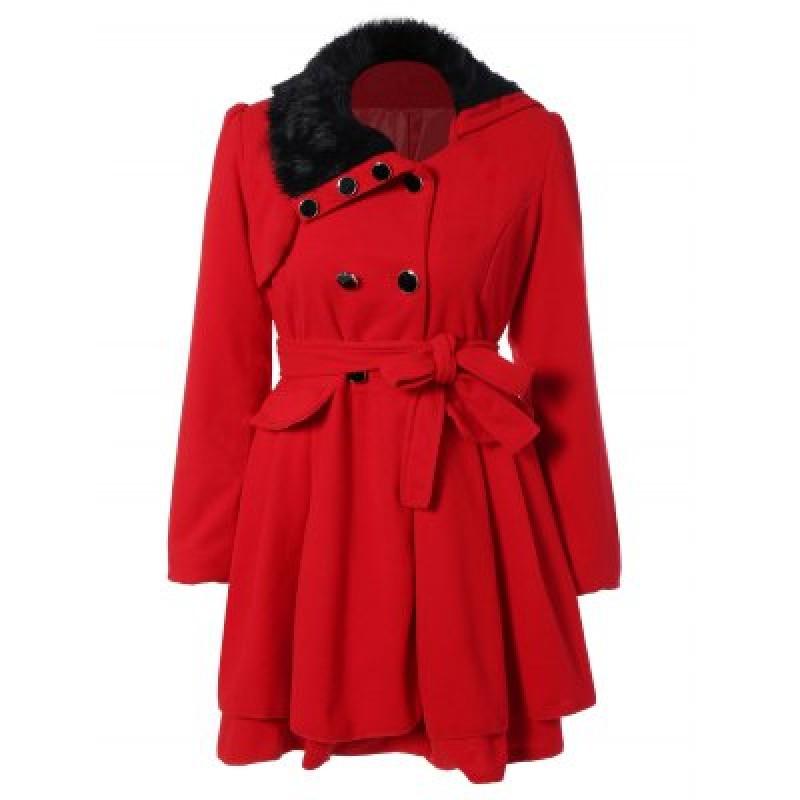 Fur Collar Fitted Pea Coat