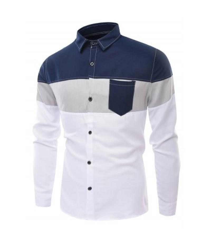 Block Panel White T Shirt