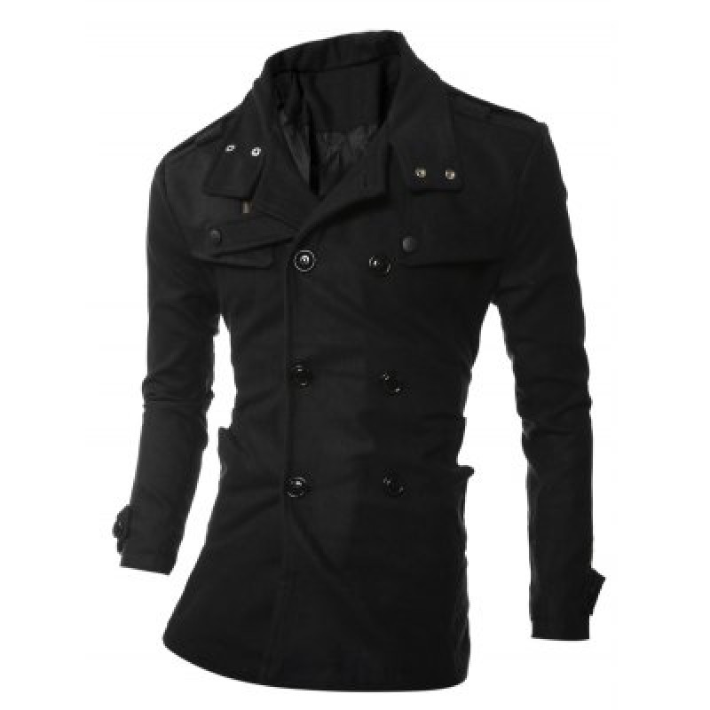 Turndown Collar Epaulet Embellished Double Breasted Woolen Coat