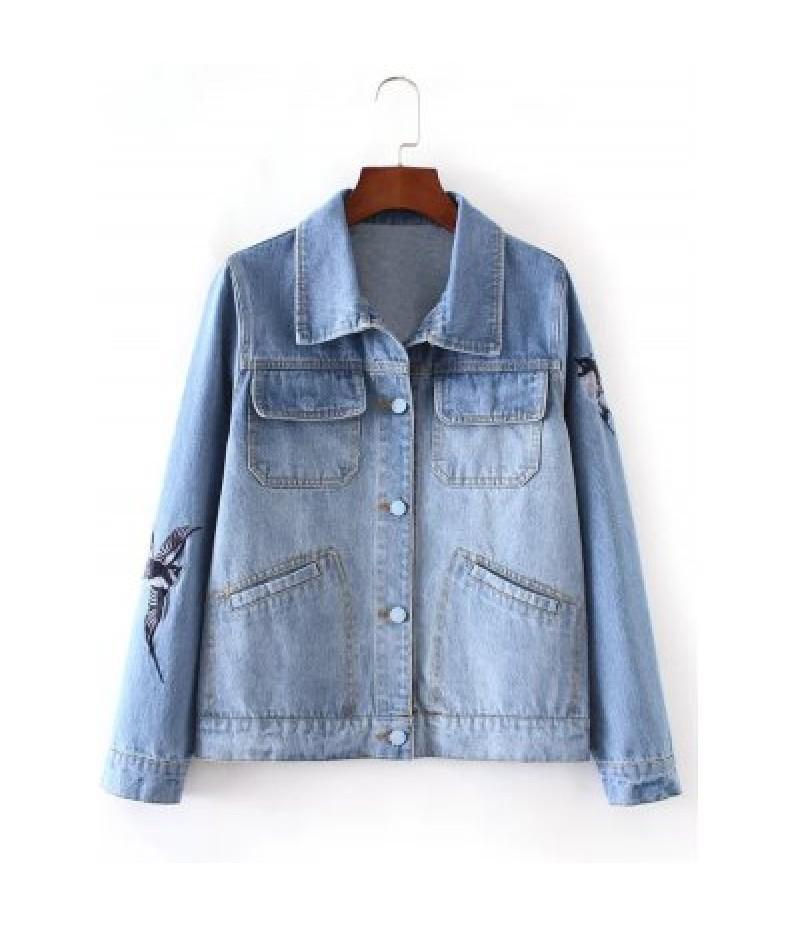 Bleach Wash Bird Embroidery Denim Jacket