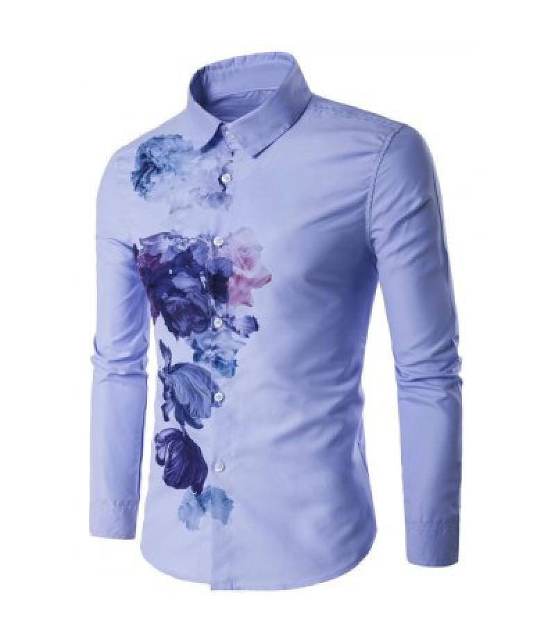Turndown Collar Florals Wash Painting Print Long Sleeve Shirt