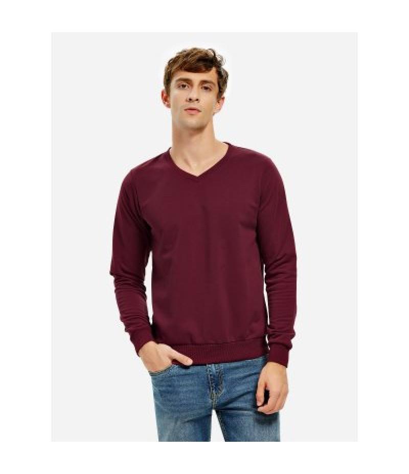 Men Long Sleeve V Neck Dark Red Sweatshirt