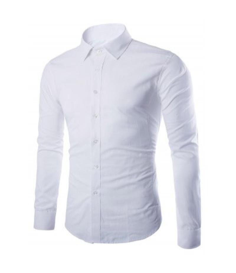 Angle Cuff Turn Down Collar Plain Shirt