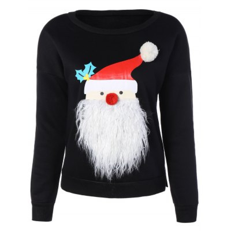 Christmas Santa Graphic Pompon Embellished Sweatshirt