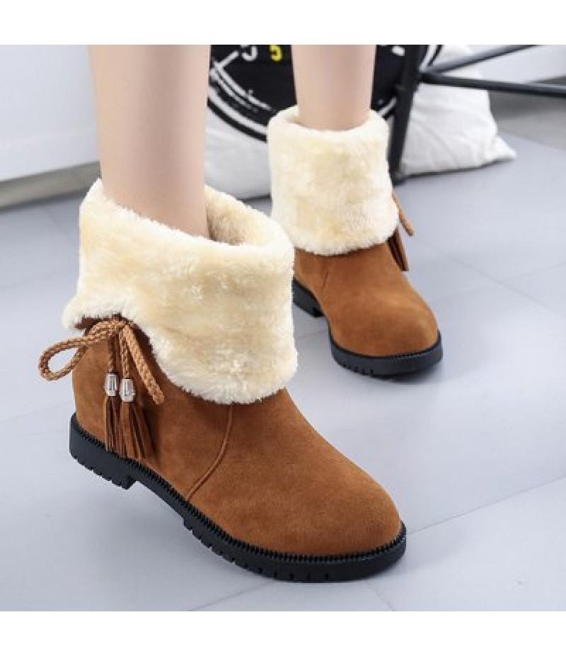 Fuzzy Tassel Fold Down Boots
