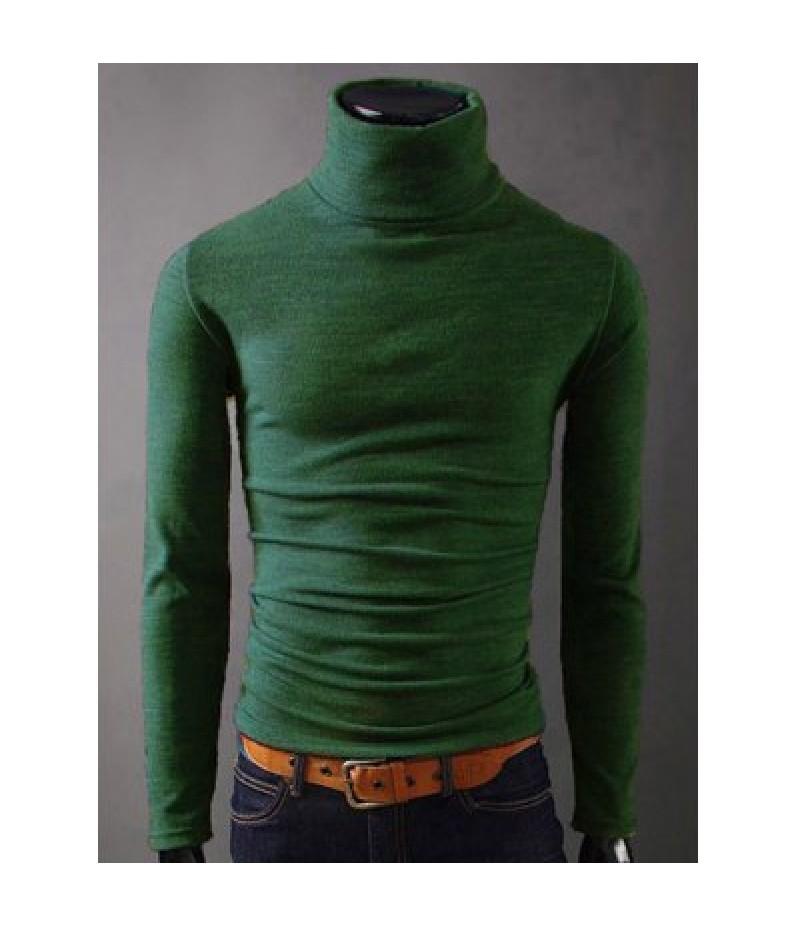 Long Sleeves Turtleneck Plain T-Shirt