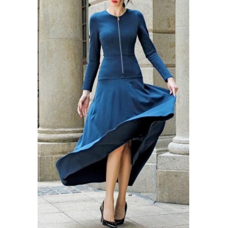 Long Sleeve Zippered Maxi A Line Dress