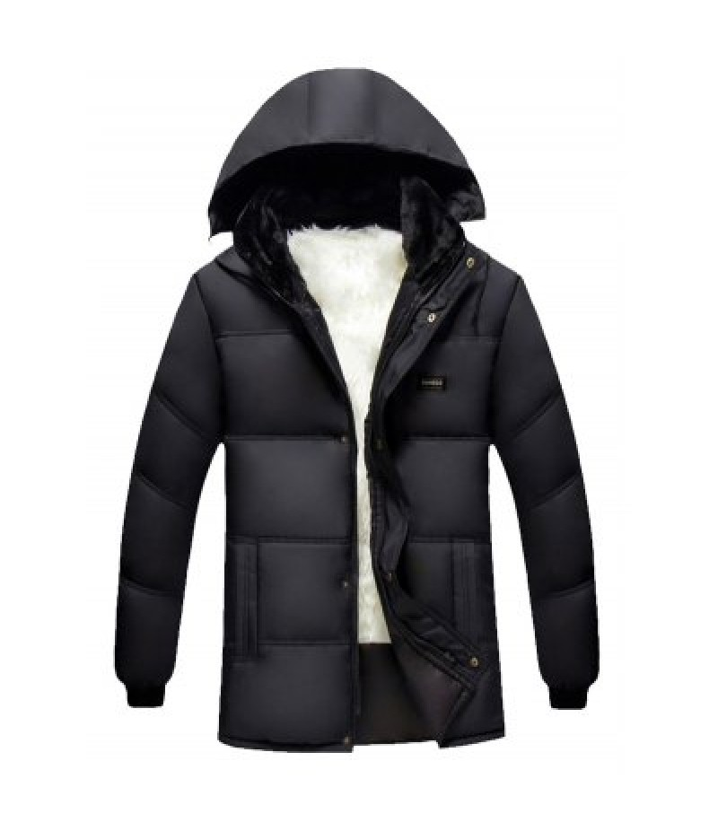 Hooded Plus Size Thicken Flocking Zip Up Down Coat