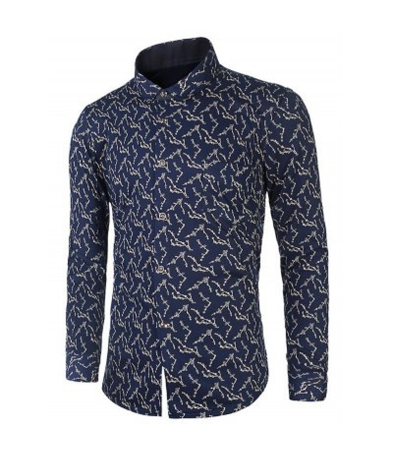 Wintersweet Flower Print Turndown Collar Flocking Shirt