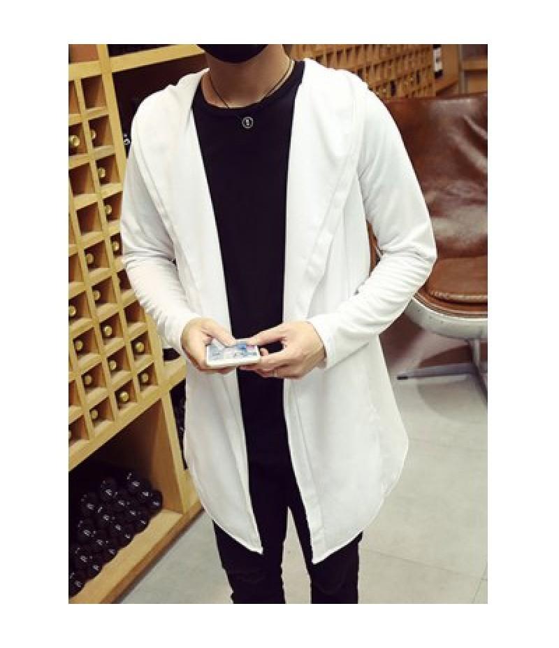 Open Front Side Pocket Hooded Coat