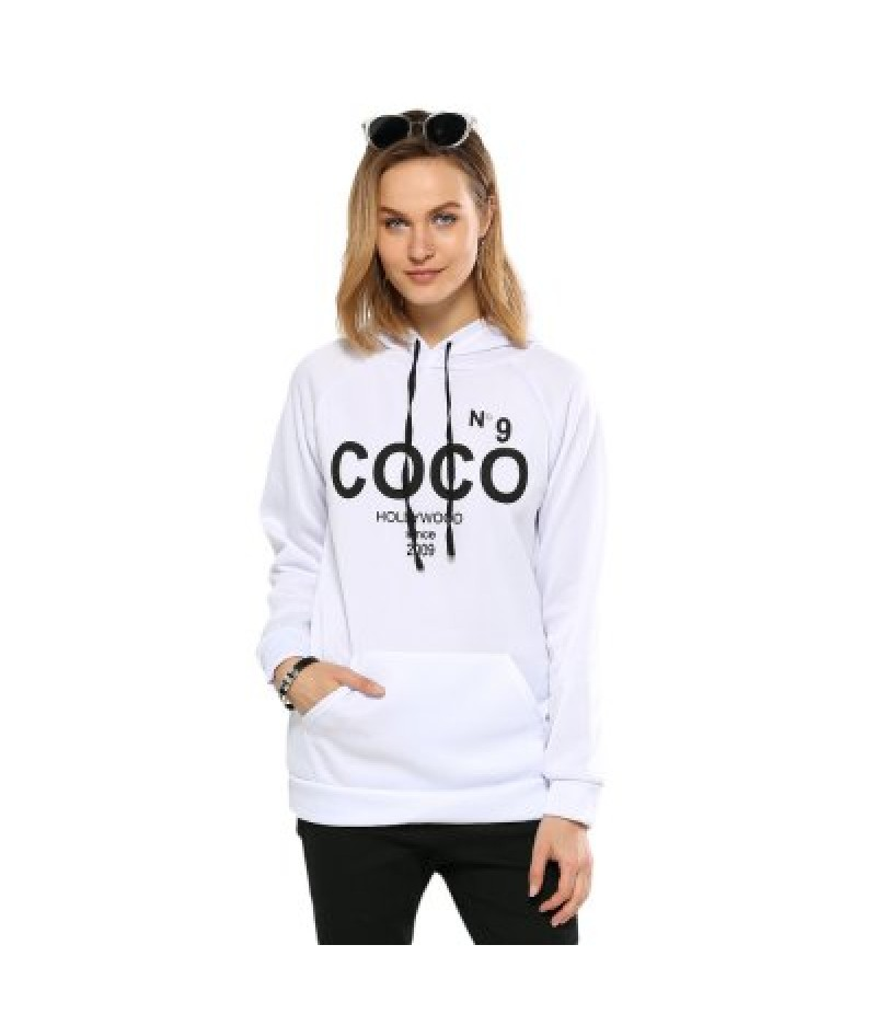 Women Casual Hooded Letter Print White Hoodie
