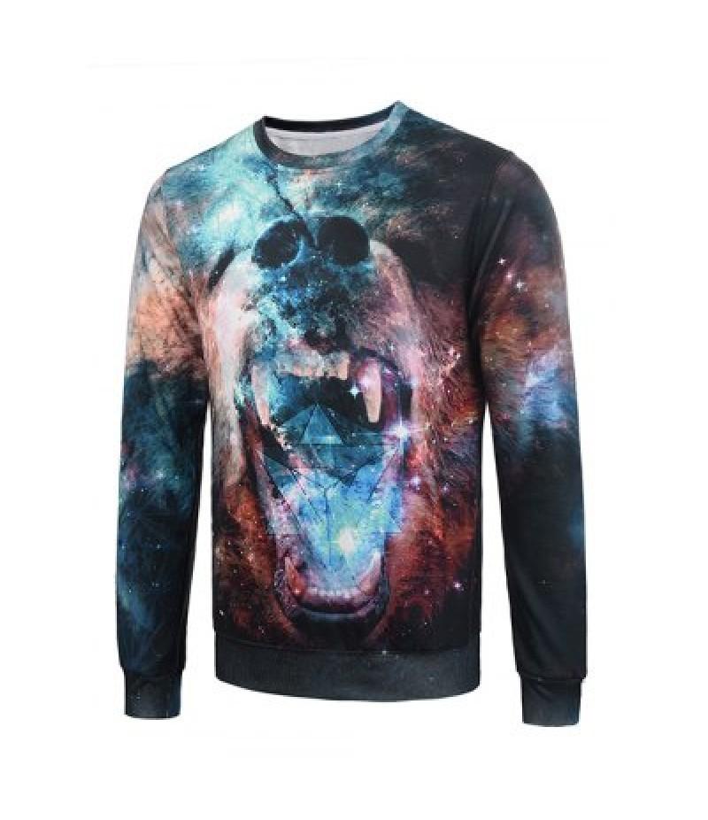 3D Galaxy Bear Print Flocking Graphic Trippy Sweatshirt