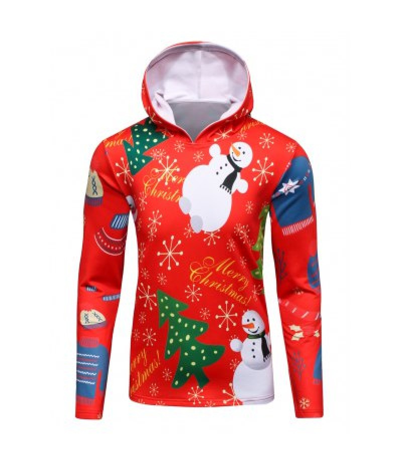 3D Christmas Tree and Snowman Print Flocking Hoodie