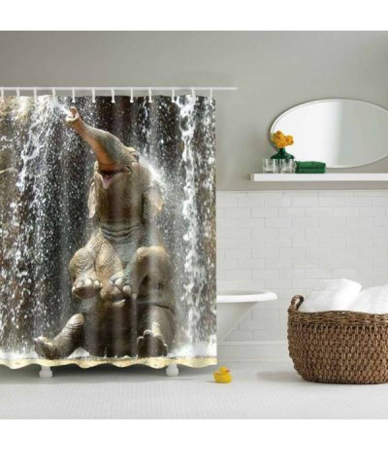 3D Elephant Design Mouldproof Waterproof Bath Shower Curtain