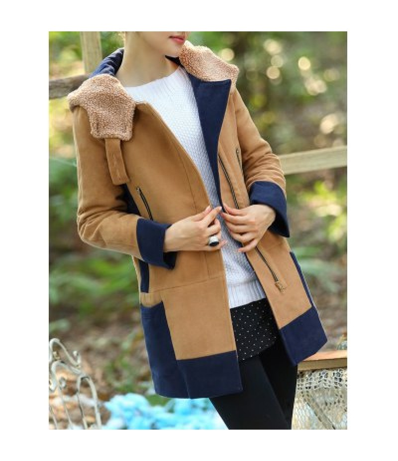 Color Block Hooded Long Coat