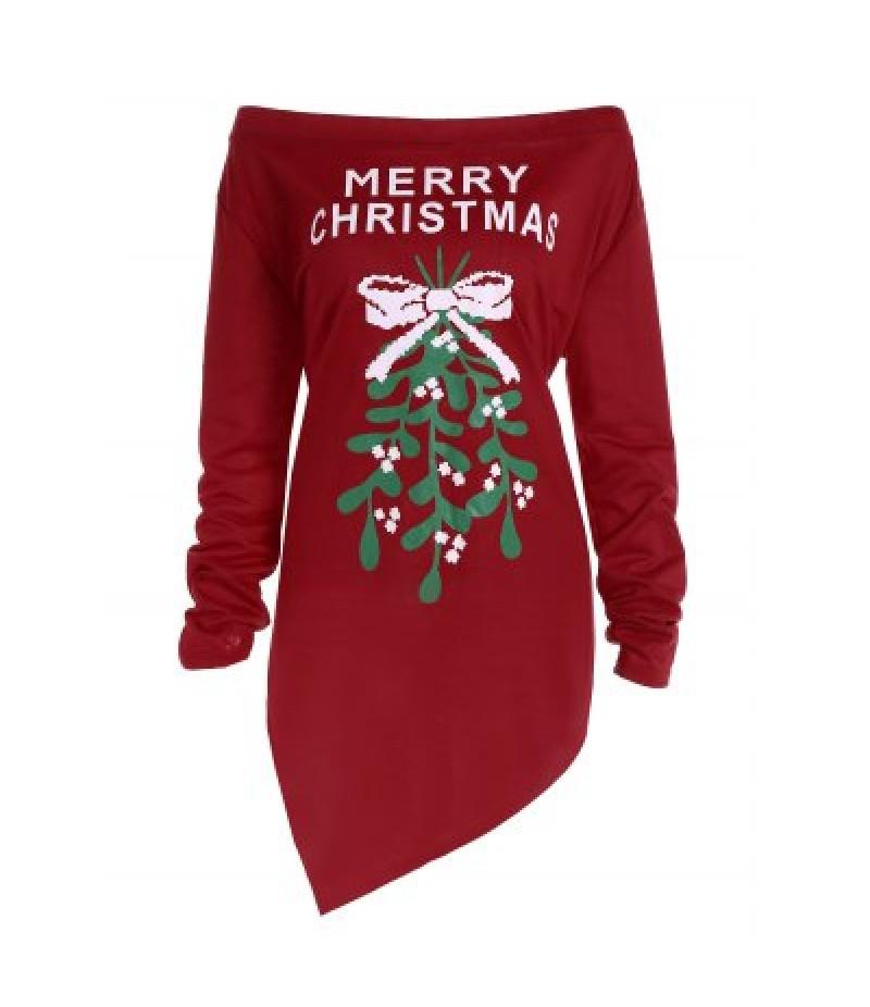 Off The Shoulder Asymmetric Christmas T-Shirt