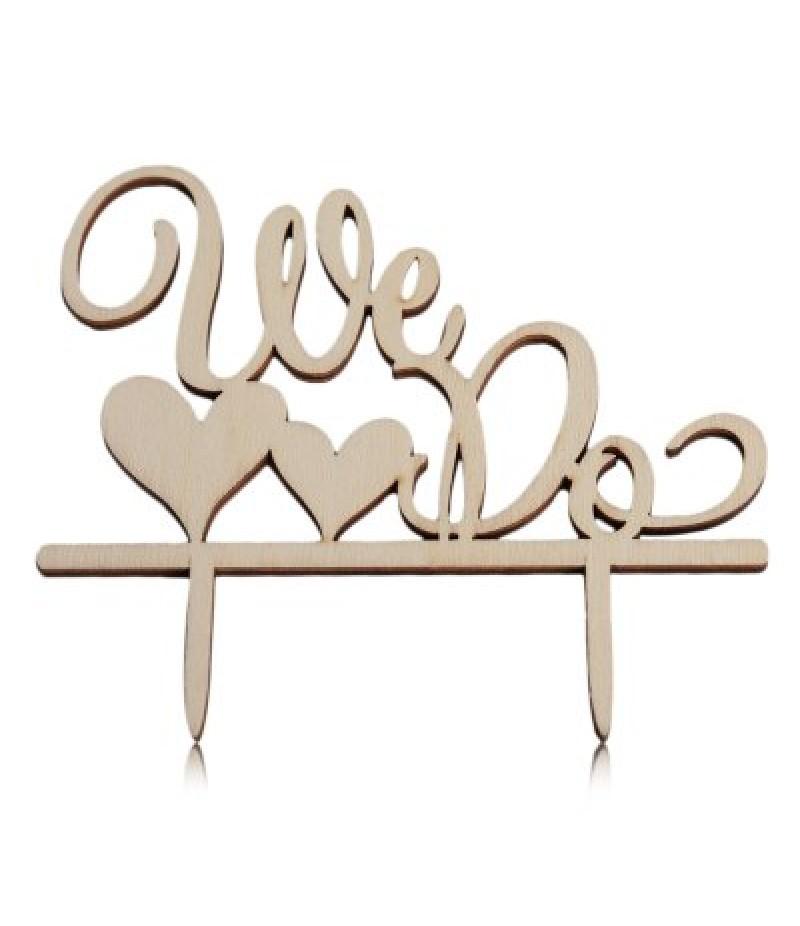 Wooden We Do Wedding Cake Inserted Card Decoration