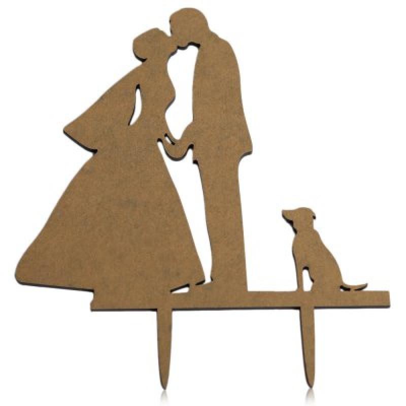 Dog Mr and Mrs Wedding Cake Inserted Card Decoration