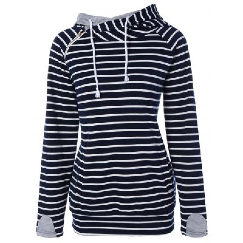 Zipper Drawstring Striped Neck Hoodie