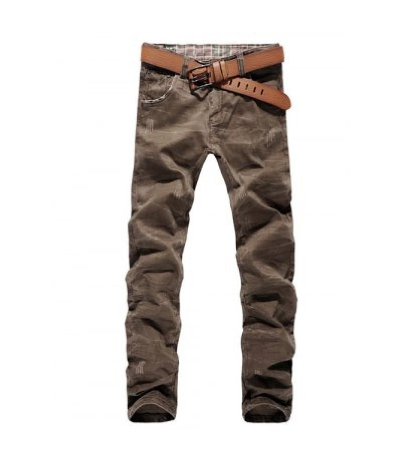 Color Block Pocket Zip Fly Scratched Jeans
