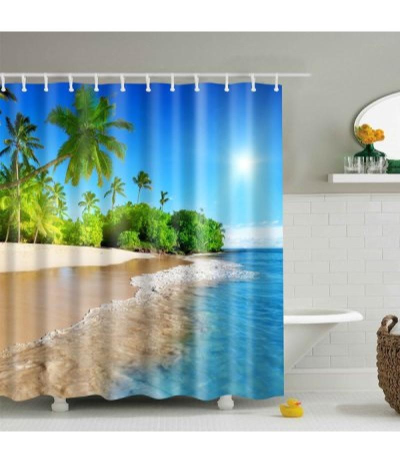 3D Beach Polyester Waterproof Bath Shower Curtain