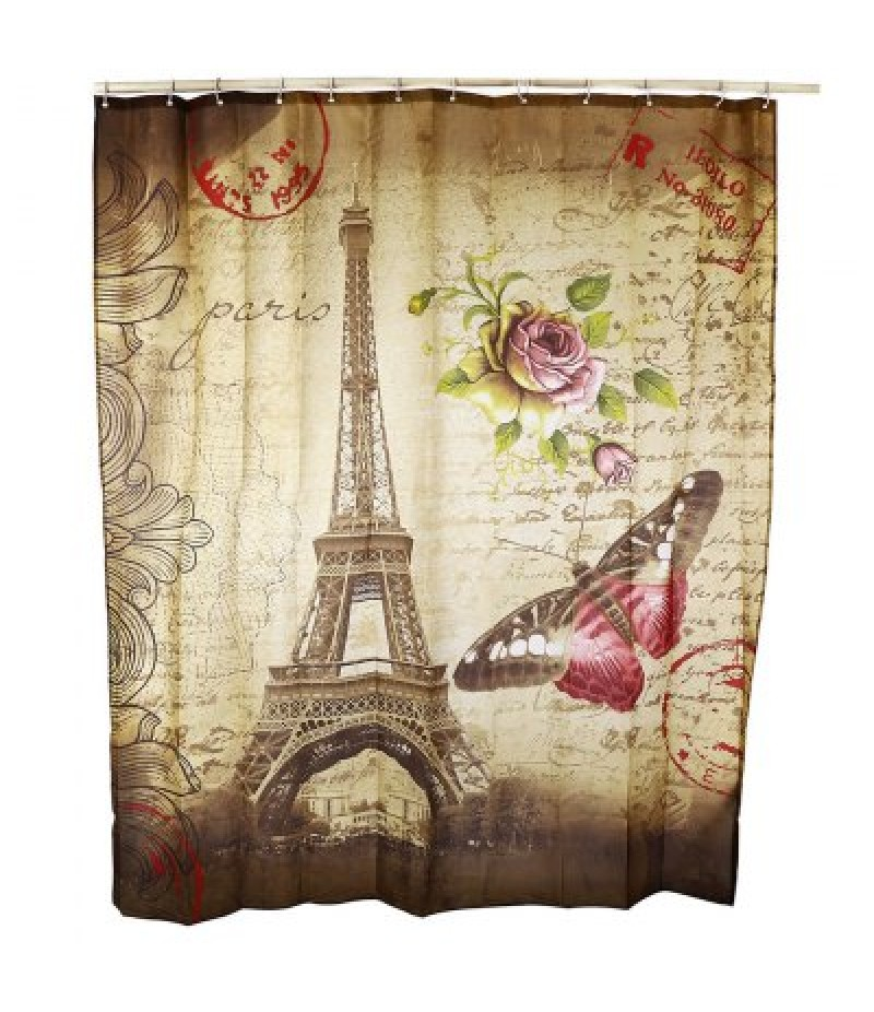 180 x 200cm Butterfly Eiffel Tower Printed Shower Curtain
