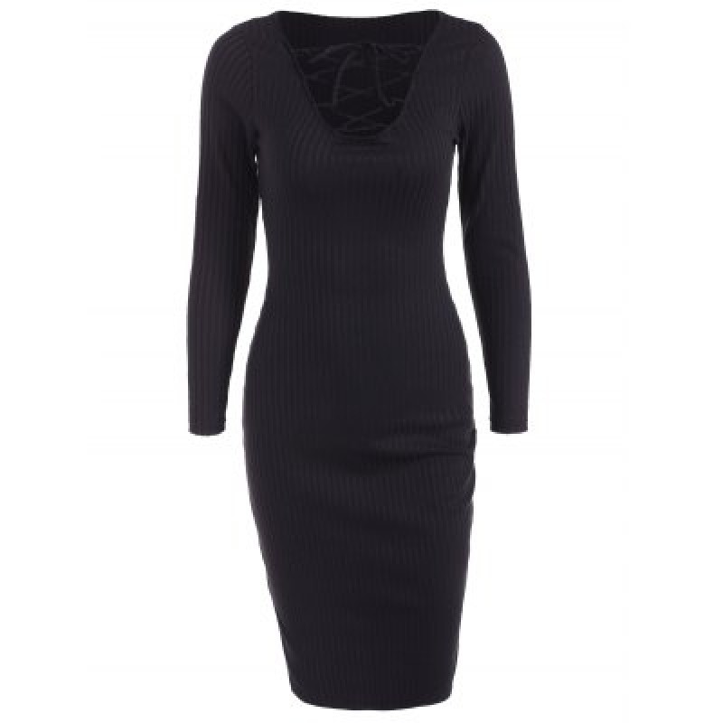 Lace Up Ribbed Long Sleeve Dress
