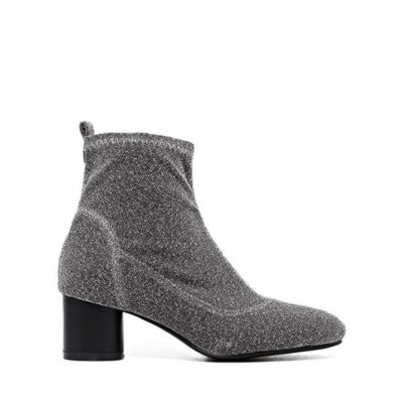 Glitter Round Toe Chunky Heel Ankle Boots