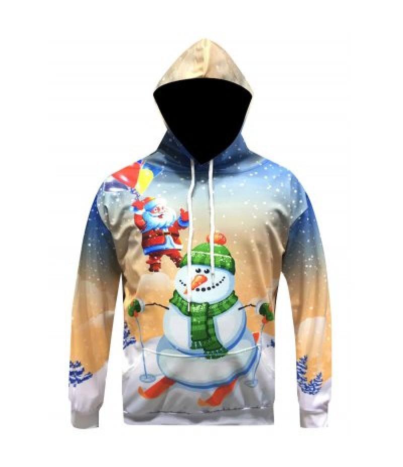 Christmas Santa Snowman Printed Pullover Hoodie