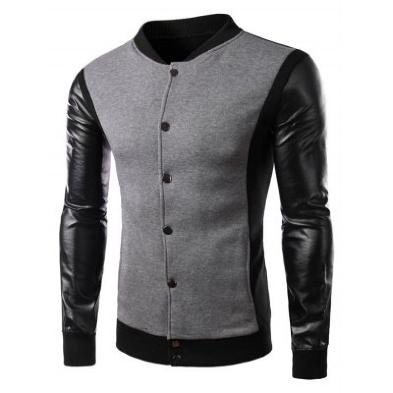 Color Block PU Leather Panel Button Jacket