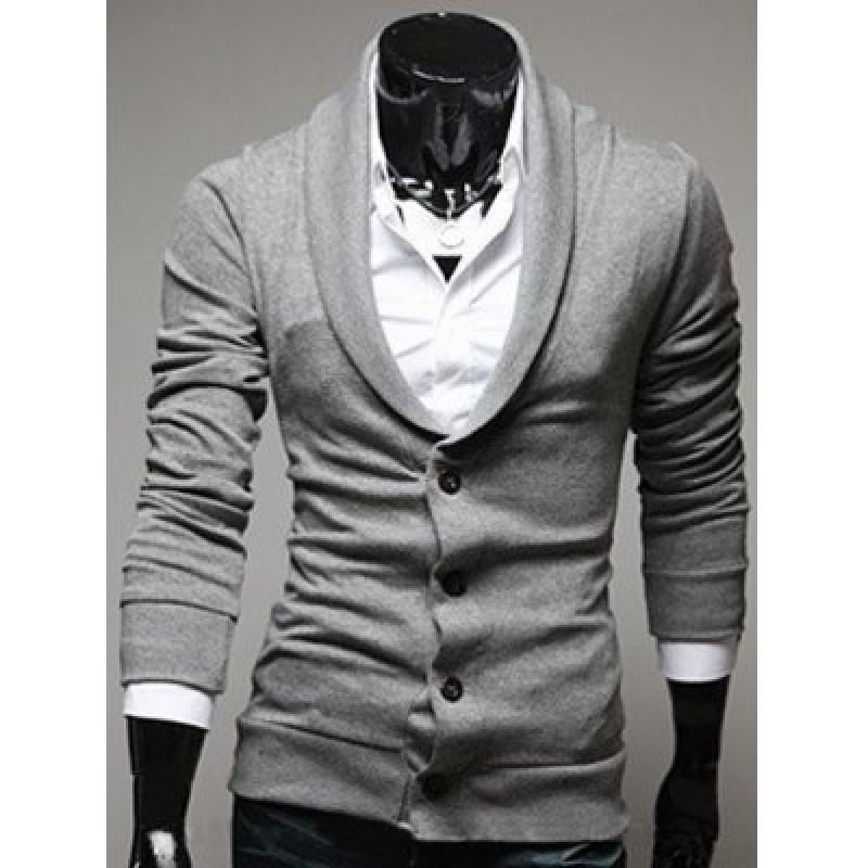 Shawl Collar Button Front Plain Cardigan