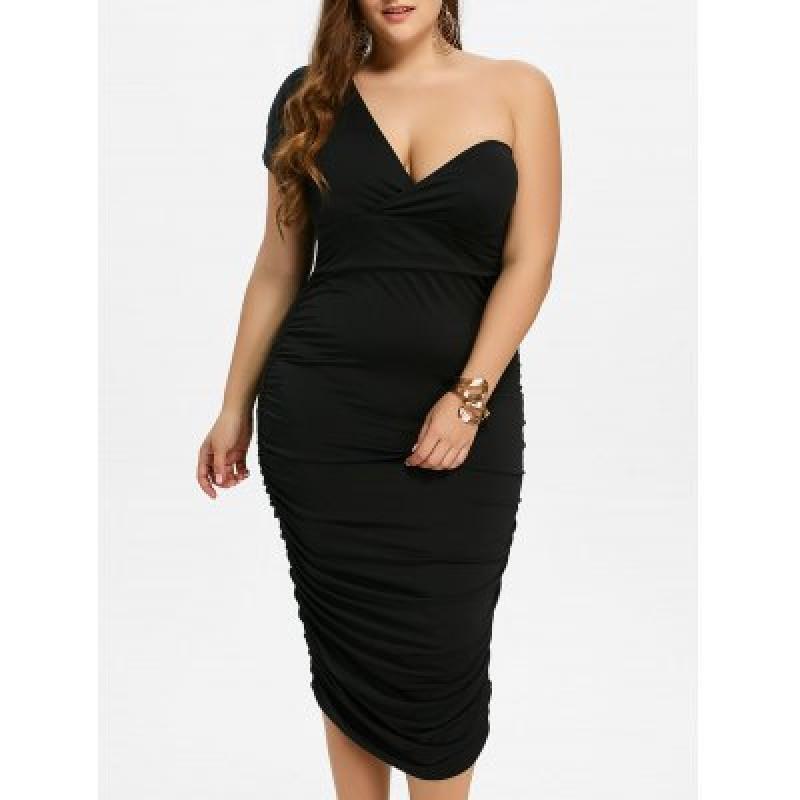 One Shoulder Bodycon Prom Plus Size Cocktail Bandage Dress