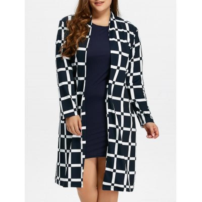 Plus Size Grid Coat