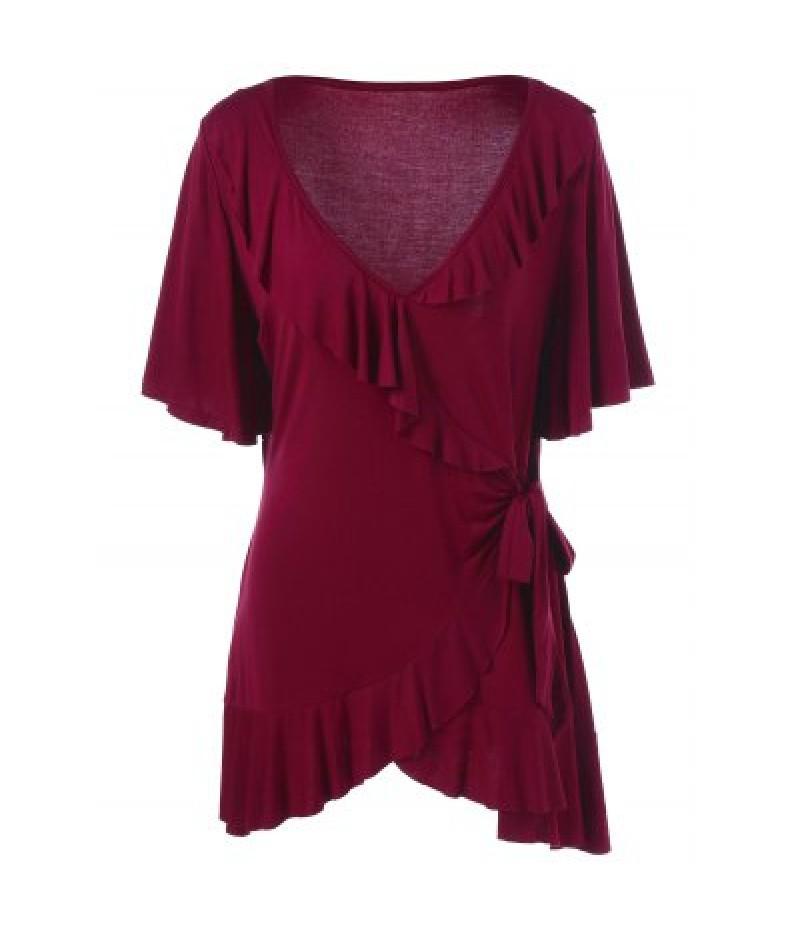 Asymmetric Plus Size Ruffled T-Shirt
