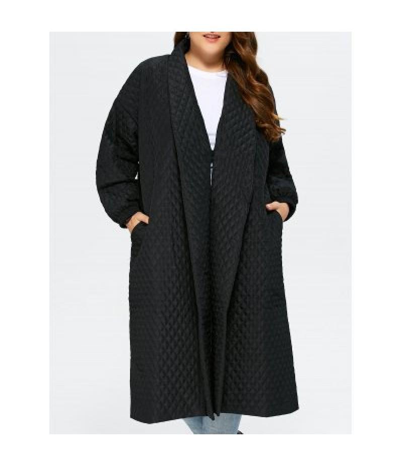 Back Slit Plus Size Quilted Jacket