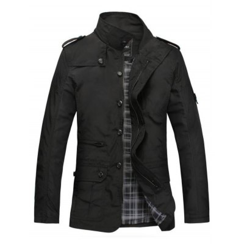 Patched Water-resistant Slim Fit Windbreaker Jacket