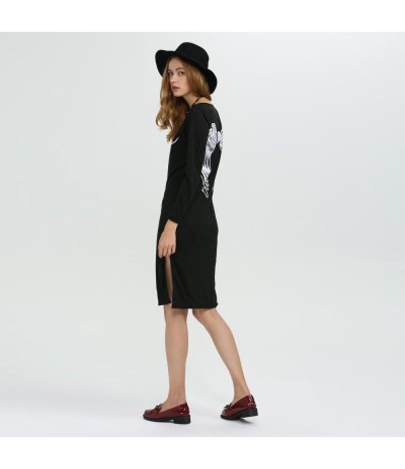 Round Collar Long Sleeve Print Slit Design Women Dress
