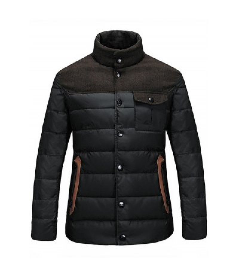 Stand Collar Color Block Pocket Padded Jacket