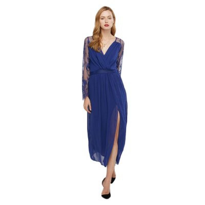 Lace Spliced V Neck Slit Design Chiffon Women Dress