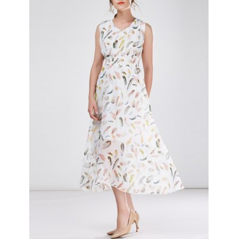 High Waist Sleeveless Print Chiffon Dress