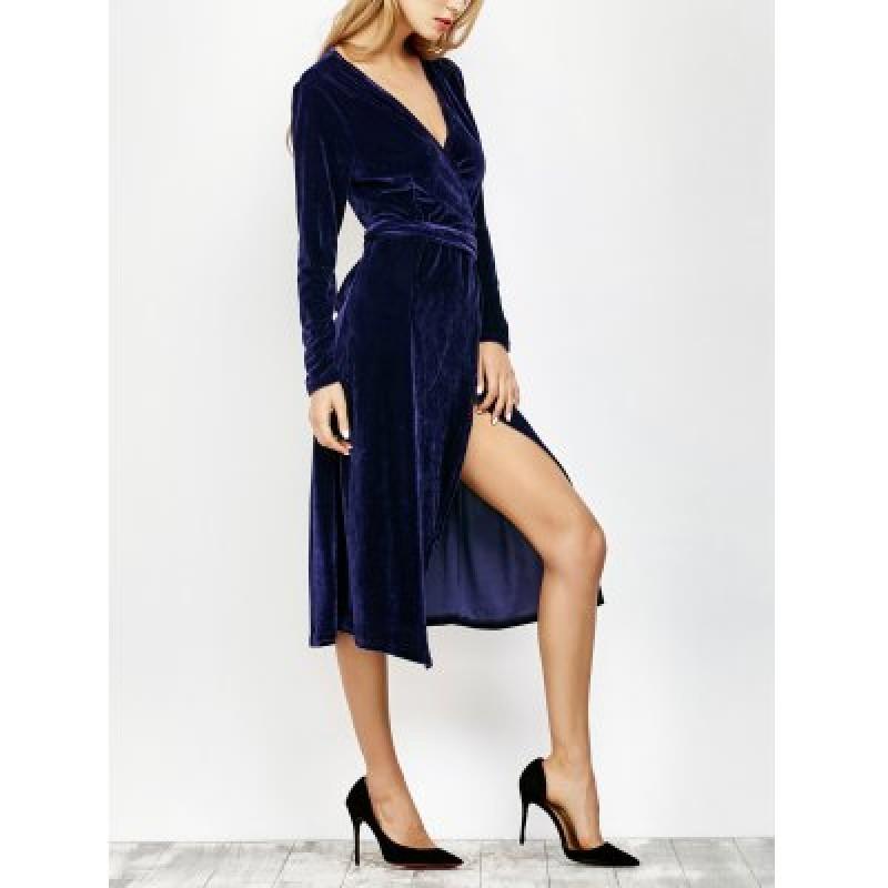 Long Sleeve Slit Velvet Wrap Dress