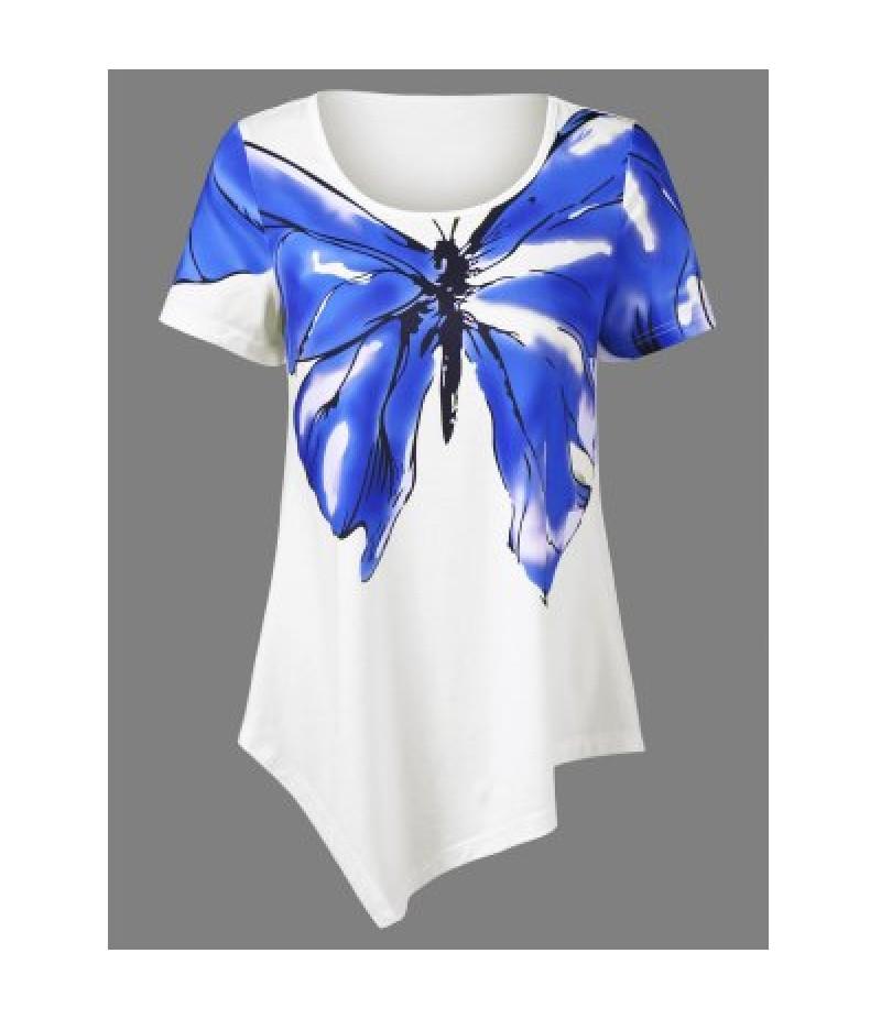 Butterfly Print Asymmetrical T-Shirt
